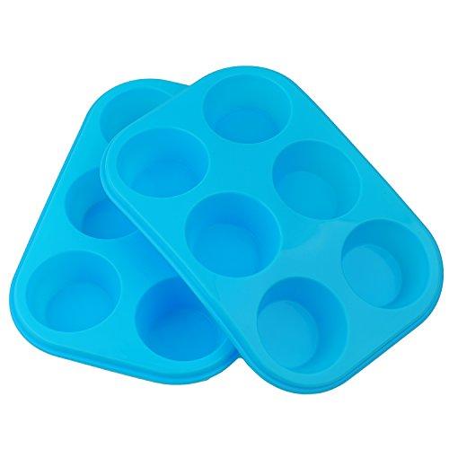 2x Silicona Bun/muffin bandeja antiadherente molde de horno para 6taza