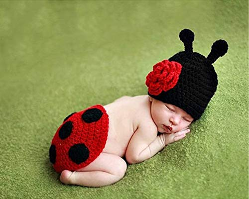 PZNSPY schattige baby fotoclothing doddler kids infant Ladybug kostuum Newborn fotography props knit crochet dieren 1 x Polsband