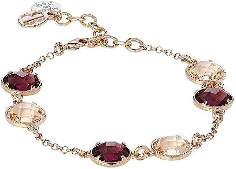 Boccadamo, bracciale per donna,in bronzo placcato oro rosa con cristalli sfaccettati Èxbr724Rsa