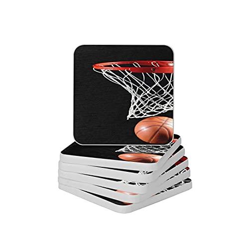 Juego de 6 posavasos absorbentes de baloncesto para bebida, platillos gruesos antideslizantes para tipos de tazas y tazas