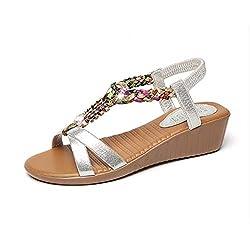 Silver Open Toe Beaded Flat Sandals