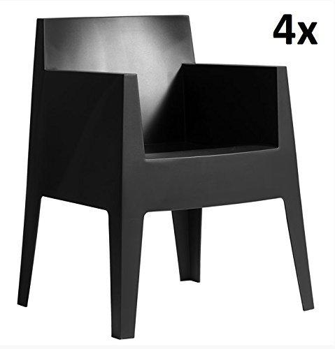 Driade Toy Armlehn Stapelstuehle 4x anthrazit - schwarz G14 design Philippe Starck zum Setpreis ORIGINAL driade