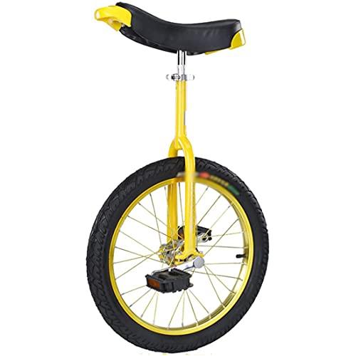 MeTikTok Einrad Unicycle, Starker Manganstahlrahmen Einräder Unisex 16/18/20/24 Zoll Rad Einrad Perfekt Fahrrad for Anfänger/Kinder,Gelb,16 Zoll