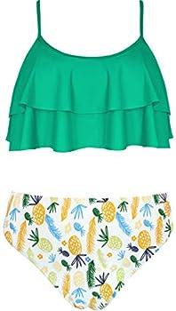 SHEKINI Girls Floral Printing Bathing Suits Ruffle Flounce Two Piece Swimsuits  Green 10-12 Years