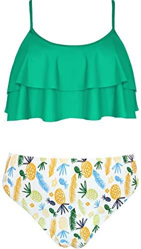 SHEKINI Girls Floral Printing Bathing Suits Ruffle Flounce Two Piece Swimsuits (Green, 12-14 Years)