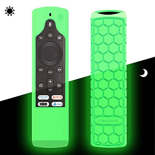 CaseBot Case for Fire TV Edition Remote - Honey Comb Series [Anti Slip] Shock Proof Cover for Amazon All-New Insignia/Toshiba 4K Smart TV Voice Remote/Element Smart TV Voice Remote, Green-Glow