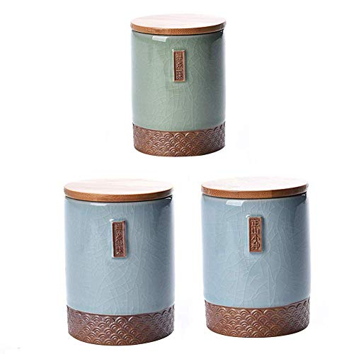 DFBGL Juego de 3 Botes de cerámica para Almacenamiento de t