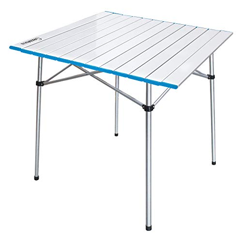 Growsun Folding Camping Table Portable Aluminum Lightweight Square Table w/Carry Bag for Outdoor and Indoor Blue Chain
