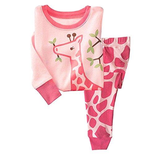 Tkiames Schlafanzug für Mädchen, Motiv: Giraffe, 2-teiliges Set, schmale Passform, 100 % Baumwolle (Größe: 1 - 10 Jahre) Gr. 4-5 Jahre, Rosa
