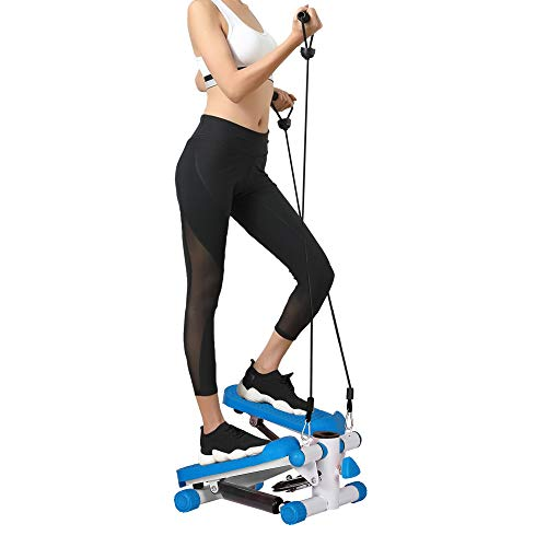 Real Relax Mini Stair Stepper with Resistance Bands and LCD Monitor, Adjustable Fitness Exercise Equipment Blue