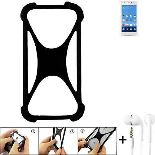 K-S-Trade® Handyhülle Für Gionee Elife S5.5 Schutzhülle Bumper Silikon Schutz Hülle Cover Case Silikoncase Silikonbumper TPU Softcase Smartphone, Schwarz (1x), Headphones