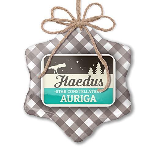 WSMBDXHJ Sternbild Name Auriga – Haedus grau weiß schwarz kariert Weihnachten Ornamente Keramik für Zuhause Weihnachten Dekoration Neuheit Andenken