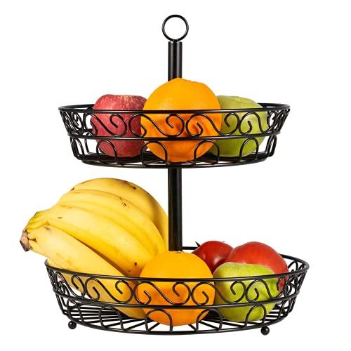 2 Piani Alzatina Portafrutta, Porta Frutta da Tavolo, Portafrutta in Metallo Nero Vintage, Ripiani Portafrutta Rotondo Perfetto per Frutta, Pane, Verdura, Snack, Oggetti Domestici e Molto Altro
