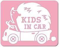 imoninn KIDS in car ステッカー 【マグネットタイプ】 No.37 ハリネズミさん (ピンク色)