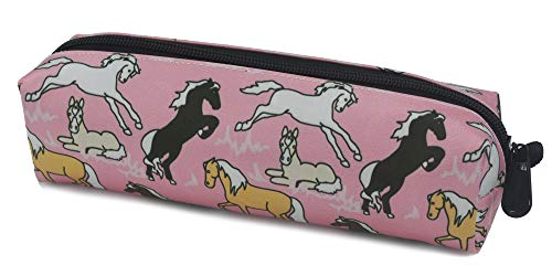Kids Zippered Pencil Case for Boys and Girls Horses in Pink Students Pens Markers Holder for School and Travel