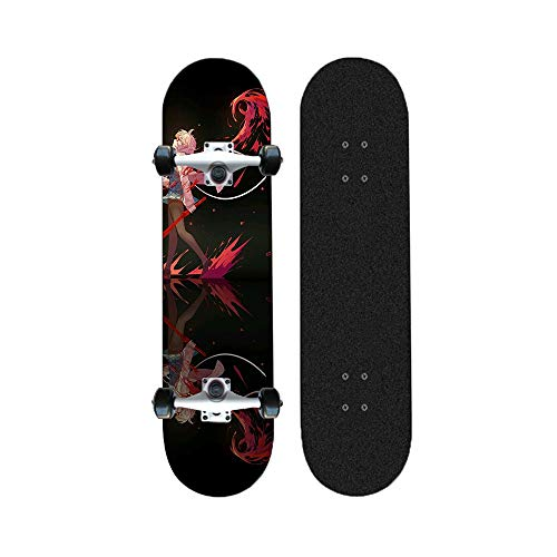 Yizhi Skateboard Longboards, Anime Muster Professional Standard Skateboards Concave Deck vierrädrige Scooter for Anfänger 31 Zoll
