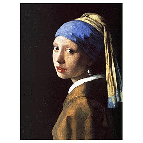 Legendarte - Stampa su tela - La Ragazza Con L'Orecchino Di Perla - Jan Vermeer - Quadro su Tela, Decorazione Parete cm. 50x70