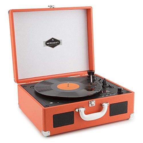 auna Peggy Sue CD tocadiscos retro (USB, SD, reproductor de CD, altavoces estéreo integrados, salida RCA, digitalizador LP) - naranja