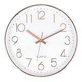Tebery Reloj de Pared Moderno de 12 Pulgadas, Reloj de Pared Que no Hace tictac, Oro Rosa