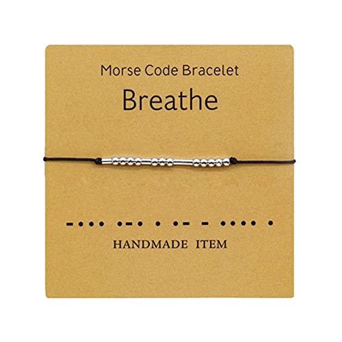 FIISH Pulsera de código Morse Ajustable, Pulsera de Cuerda Negra Trenzada con Cuentas Beige Hecha a Mano para Hombres y Mujeres, Regalo de joyería para Parejas