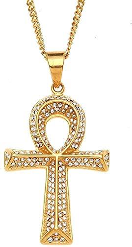 Liuqingzhou Co.,ltd Collar Colgantes para Hombre U0026 Collares Diamantes de imitación Completamente Helados Joyería egipcia Hip Hop Llave de la Vida Oro Cadena Cubana Longitud 60 cm