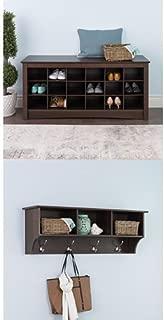 Prepac Hanging Entryway Shelf with Shoe Cubby Bench - Espresso