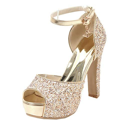 LUXMAX Decolte Donna con Tacco Alto Largo Scarpe High Heels Stiletto Pumps Cinturino alla Caviglia (Oro) - 34 EU