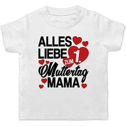 Muttertagsgeschenk Tochter & Sohn Baby - Alles Liebe zum 1. Muttertag Mama - rot/schwarz - 3/6 Monate - Weiß - Baby muttertagsgeschenk - BZ02 - Baby T-Shirt Kurzarm