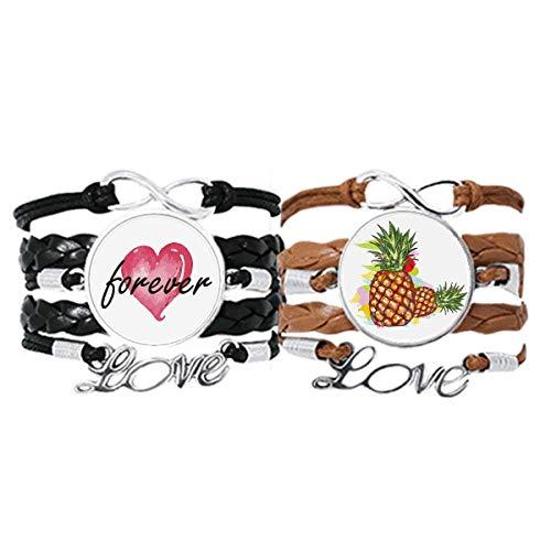 Bestchong PineFruits - Pulsera de dibujo de fruta para parejas, correa de mano, cuerda de cuero para siempre amor