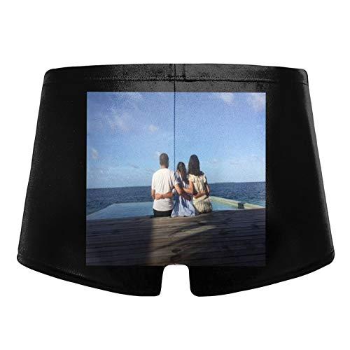Tseasoon Men's Custom Face On Boxer Shorts Swimwear Shorts Trunks Swimsuit (XXXL) Black