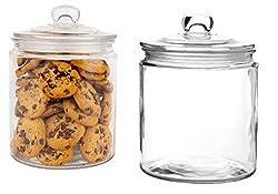 2 large glass storage jars with glass lids