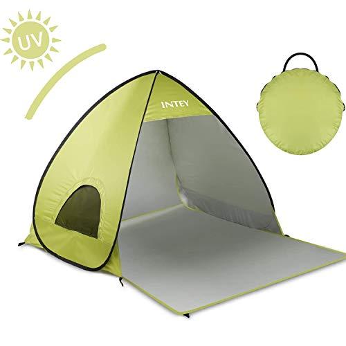 INTEY Tente de Plage en Forme Coquillage Bleu ou Jaune, 2 ou 3 Personnes Abri de Plage Portable Escamotable avec UPF50+ Anti UV, Chevilles pour Fixation et Sac de Transport pour Camping Inclus (Jaune)