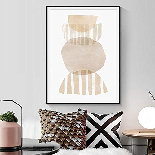 VVSUN Abstract Geometry Canvas Painting Beige Color Poster Wall Pictures Boho Wall Art Print Living Room Home Decor 50X70cm 20x28inch No Frame