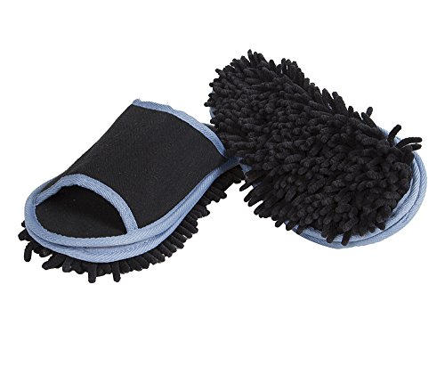 Slipper Genie Microfiber Men's Slippers for Floor Cleaning, Men's House Slippers, Multi-Surface Cleaner, Dust Cleaning Tool, Black - Men's Size 9-11 -'Slip Em On And They'll Do The Cleaning For You!