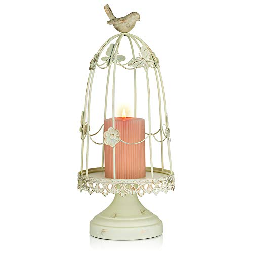 Sziqiqi Ornamental Bird Cage Candleholder for Antique Decor, Fit for Flowers Planter Candles Garland Cupcake Display for Wedding Centerpiece Holiday Decoration, Distressed Ivory 38cm/15 inch