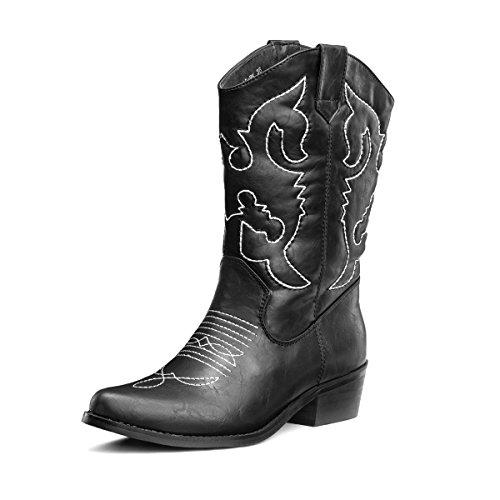 SheSole Damen Cowboy-Stiefel aus Leder - gefütterte Westernstiefel für Damen, hochwertige Damen-Boots mit breiter Schuhform, Schwarz, 36 EU