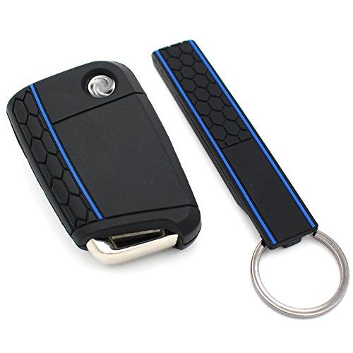 Schlüssel Hülle + Keytag VB für 3 Tasten Auto Schlüssel Silikon Cover von Finest-Folia (Schwarz Blau)