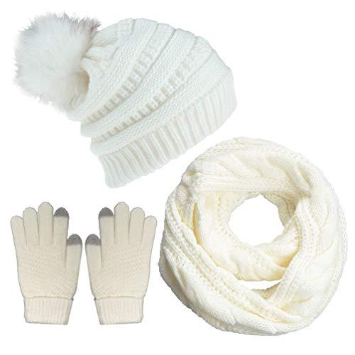 Yutdeng Conjunto de Gorro y Bufanda de Punto Mujer Invierno Calentador de Cuello Niña Forro y Piel Gorro de Pompón Caliente Invierno Regalos,Blanco,talla única
