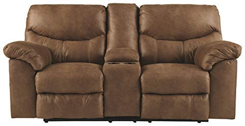 Signature Design by Ashley - Boxberg Contemporary Faux Leather Double Reclining Power Loveseat with Console, Brown