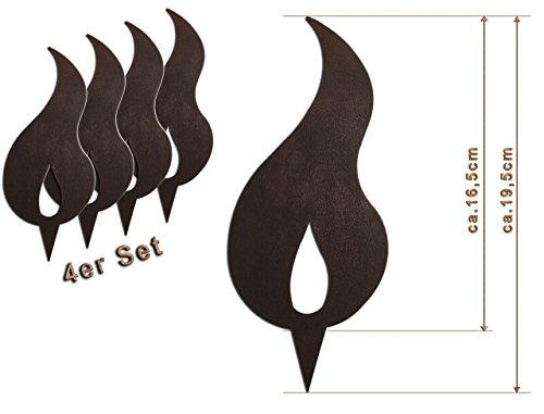 Edelrost Deko-Flamme 4er Set (Eine Spitze) Größe L/ 19,5cm: Wunderschöner Deko-Artikel für Ihre Wohnung - Weihnachts-Deko von Manufakt-Design