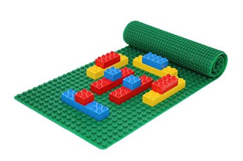 Beslo Hochwertige Baustein Matte aus Silikon I Doppelseitige Bauplatte Groß I Rollbare, Wasserfeste Grundplatte Kompatibel mit Lego Duplo I Flexible Platte BPA-frei, 30,5 x 80,5 cm Grün