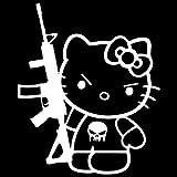 hello kitty gun car decal - Hello Kitty M-16 Punisher Machine Gun Vinyl Decal Sticker (HK-18) (White, 6 inches x 5 inches)