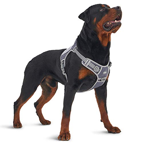 Auroth Tactical Dog Training Harness No Pulling Front Clip Leash Adhesion Reflective K9 Pet Working Vest Easy Control for Small Medium Large Dogs Grey L