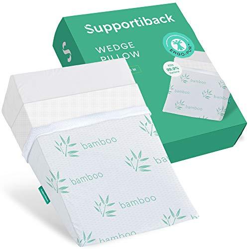 Supportiback® Almohada terapéutica para la cama | Con espuma de memoria y funda lavable, diseñada por médicos para el dolor de espalda y cuello, mejor respiración y circulación y reflujo del ácido