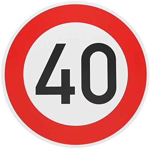 ORIGINAL Verkehrzeichen 40 KM/H Schild Nr. 274-54 Verkehrsschild Straßenschild Straßenzeichen Metall auch Gebutrtstagschild zum 40. Geburtstag als 40km Geburtstagsschild 42 cm Metall mit Folie-Typ1