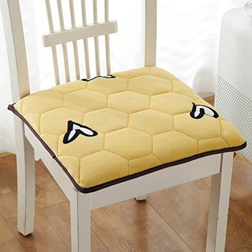 XHNXHN Almohadillas antideslizantes para silla de asiento de ordenador, fundas de asiento desmontables para el hogar, oficina, interior y exterior, cocina, amarillo, 25 x 35 cm