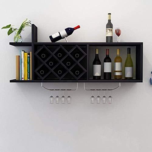 BFDMY Gabinete De Pared para Gabinete para Botellas De Madera para Vinos para Rejilla De Vino para Vino Rombico, Simple, Estante Hermoso para La Decoración del Hogar,Schwarz