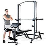 Marcy SM-1050 Home Gym Smith Machine (Weight Bench of 600 lbs Weight Capacity, Adjustable Bench, Preacher Pad and Safe Home Training)