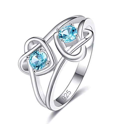 Empsoul 925 Silver Plated Double Heart Round Cut Filled Blue Topaz Knot Orbit Ring For Women Size 6