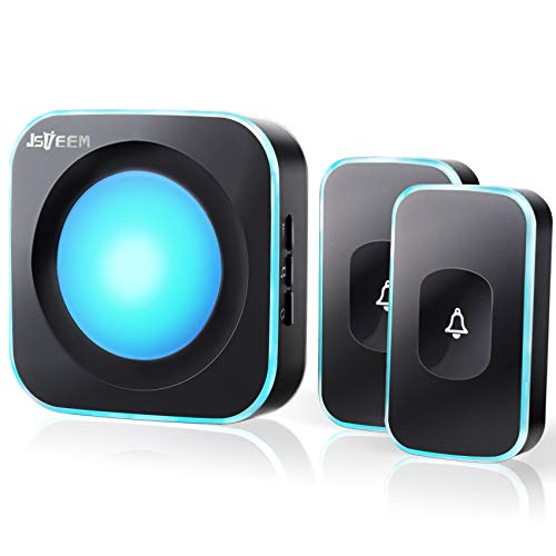 Wireless Doorbell JSIEEM Waterproof Doorbell Chime with 2 Buttons with Different Tones Operating at 1000 feet 4 Volume levels 36 Melodies Flash Light 1 Receiver 2 Button Black